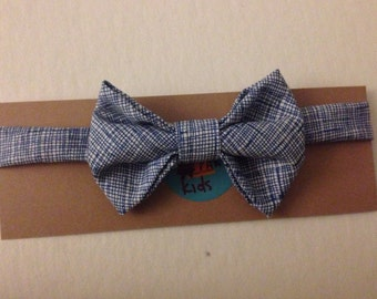 Handmade Bow Tie For Your Little Guy in Blue Crosshatch