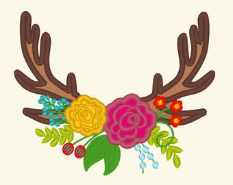 Antlers with flowes, buck deer antler shabby chic flowers  - Machine embroidery applique designs -  5, 6, 7, 8 and 9 inches INSTANT DOWNLOAD