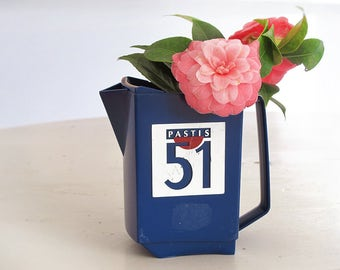 French Water pitcher, PASTIS, french bistro barware , 1950, blue carafe, Pastis 51 Tumbler - Retro Bistro Decor - Blue Plastic Jug