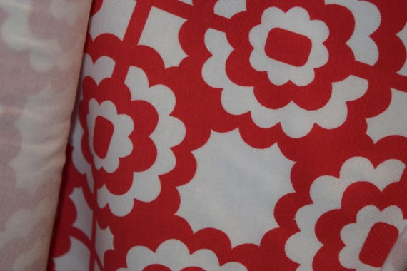 Red Print Cotton Lycra Fabric (yard)