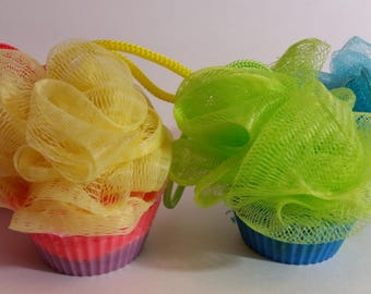 Bath Puff Soap Cupcakes