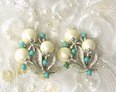 """ON SALE Vintage Clip On Earrings Sarah Coventry """"Alaskan Summer"""" 1961 Faux Pearl Flower Buds Turquoise Berries Silver Tone"""