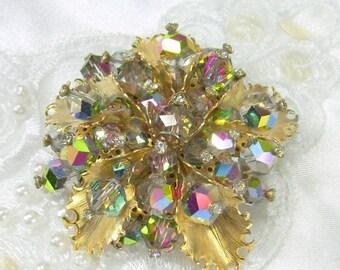 ON SALE Vintage Brooch Rhinestone Bead Cluster Aurora Borealis Flower Gold Tone
