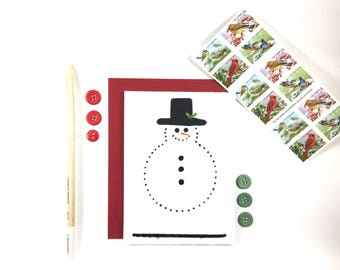 Hand Painted Snowman Card - Handmade Christmas Card - Specialty Cards - Eco Friendly  Greeting Card -Frosty -Holiday Card - Gift Card Holder