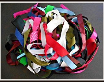 Ribbon scraps - Ribbon Grab bag -  Hair Bow Supplies - Craft Supplies - Variety of Lengths - Multi-Colors - Satin Ribbon - Grosgrain Ribbon