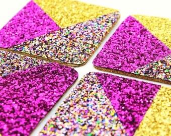 Glitter Drink Coaster, Coaster Set, Housewarming Gift, Glitter Drinksmat