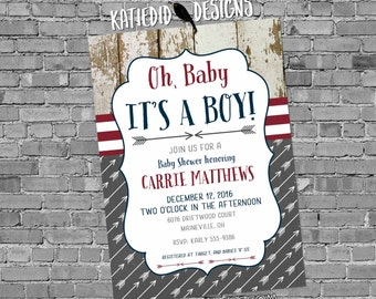tribal baby shower invitation BOHO oh boy arrow sprinkle maroon burgundy navy wood rustic chic theme it's a boy gray item 12120 shabby chic
