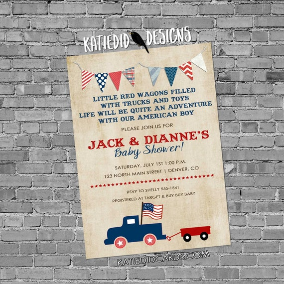 Patriotic invitations baby boy shower old truck 4th of july birthday bunting banner wagon party baptism (item 238b) shabby chic invitations