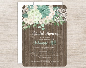 Rustic Mint Hydrangea Bridal Shower Invitation, Floral and Lace, Hydrangea Floral, Rustic Mint Floral and Lace, Rustic Wood and Flowers