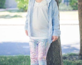 Unicorn leggings Girls Baby Toddler Pink Blue Light Purple Birthday pants 0 3 6 12 18 24 months 2T 3T 4T 5T 6 7 costume Dragon Scale