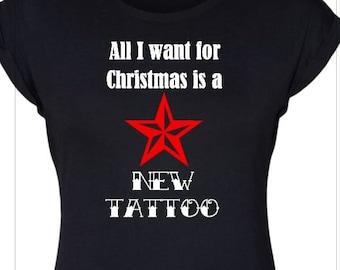 New Christmas!!! New Tattoo - All I want - Tattoos - Present - Best Gift - New Ink - Rockabilly - Nautical star - Stocking Stuffer