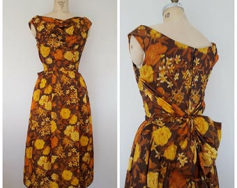 Vintage 1960s Golden Floral Dress / With Tags / Taffeta Cocktail Dress / Back Bow / XS