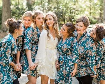 Teal Bridesmaid Robes. Bridesmaids Robes. Bridal Robe. Kimono Robe. Wedding Gift. Dressing Gown. Bridesmaids Gift.