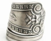 Silver Green Man Ring, Antique Sterling Silver Spoon Ring ca 1866, Ivy Leaves Ring, North Wind, Unique Thumb Ring, Custom Ring Size (6504)