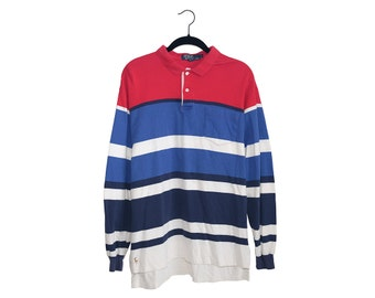 Vintage 90's POLO by Ralph Lauren Red White & Blue Sailor Stripe Rugby Style 100% Cotton Crewneck Long Sleeve Sweatshirt, Made in USA