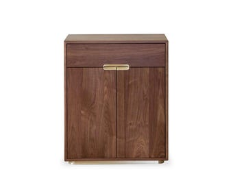 Joan Record Cabinet in Walnut and Brass