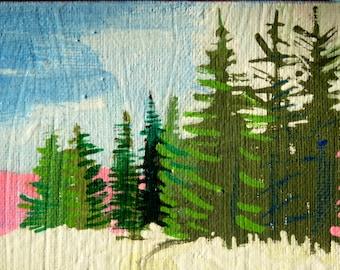 Trees, ORIGINAL PAINTING, art landscape, acrylic painting, painting of trees, mountain painting,  6x6x1.5