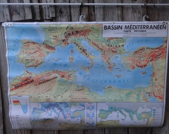 Vintage French Map Mediterranean Basin Bassin Mediterraneen Large Double Sided Coated School Maps Physical Climate circa 1977 / English Shop