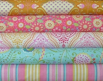 Fat Quarter Bundle of 5 from the Little Azalea Collection by Dena Designs for Free Spirit