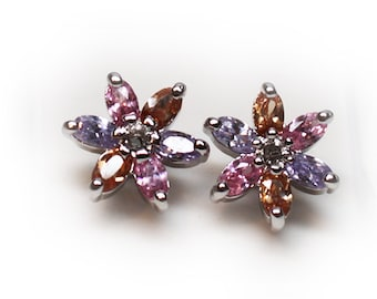Sterling Silver Floral Tourmaline Stud Earrings