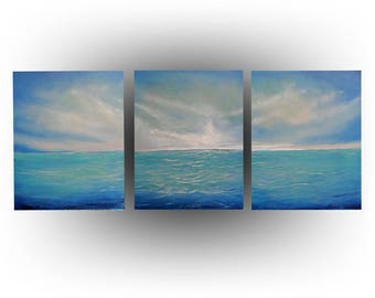 ORIGINAL Seascape Painting Blue, Gray - 20 x 48 - Sunset in the Keys - Skye Taylor Artist
