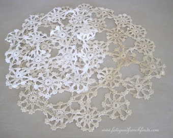 Antique French Two Crochet Lace Doilies For Rework 44 Crochet Lace Panels Handmade