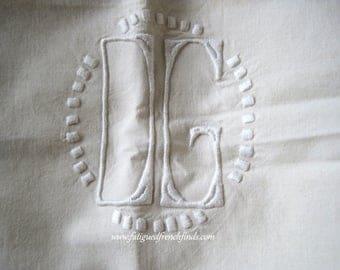 Antique French Metis Linen Sheet Hand Drawn Thread Work & Hand Embroidered DG Monogram Ladderwork Hem 2 Available Separately Art Deco