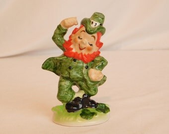 Vintage Ceramic Leprechaun By Lefton, St. Patricks Day, Luck O' The Irish, Pixie