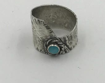 Beutiful Sterling Silver Wrap Ring with Amazonite Cabochon | The Bleu Giraffe | 45.00 | Band Ring Gemstone |Reclaimed Silver | Eco Friendly