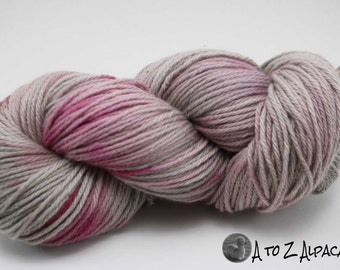 Hand Dyed Royal Baby Alpaca Yarn Bulky Weight Hint of Pink