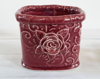Pencil Holder // Desk Accessory //Ceramic Pencil Holder with Rose Leaves and Vines Cherry Red  // Pencil Holder for Desk