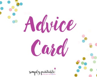 Digital Advice Card to Match any Shower Invite in Simply Printable Shop