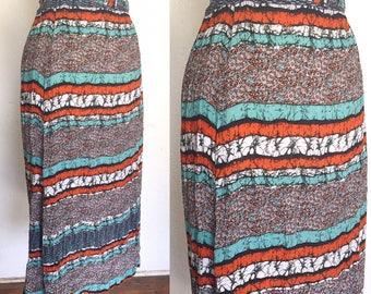 FREE SHIPPING//Vintage turquoise and orange sea skirt//teal wiggle highwaisted skirt//size medium