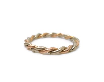 Bicolour Twisted Rope 18k Gold Ring or Wedding Band for men and women - delicate slim rose yellow grey stacking ring 2mm