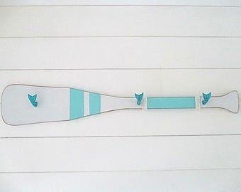Nautical Wood Boat Oar Wall Rack, Three Whale Tail Hooks, Turquoise/White, Rope