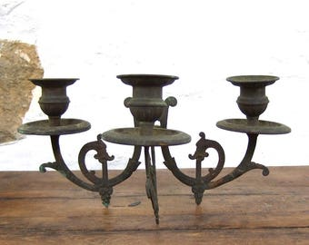 Antique French Candelabra Candleholder candle holder Copper triple trio
