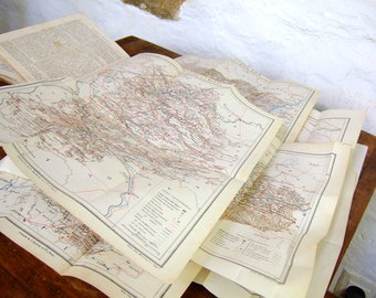 1868 Railroad Maps Book Antique French railway lines map france