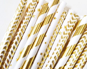 Twinkle Twinkle Little Star Gold Foil Paper Straws - Gold Star Straws - Gold Chevron - Gold Stripes - Set of 25