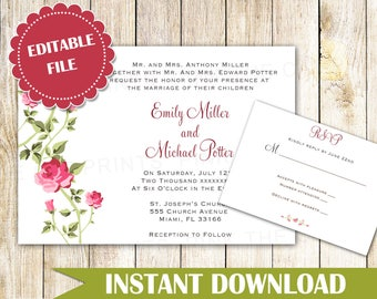 Roses Wedding Invitation Template - Roses Invitation Template - Printable Wedding Invitation - Editable Wedding Invitation INSTANT DOWNLOAD