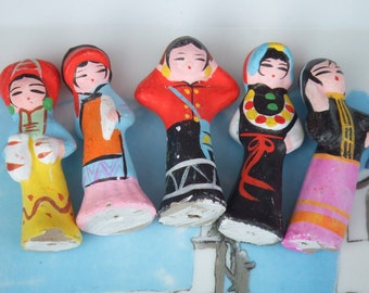 Vintage. Set of 5 Eastern Women Made of Clay. 2 and 1/2 Inches Tall. Salvaged Dolls. Asian or Eastern European in Traditional Dress.
