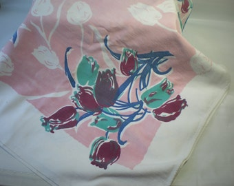 Vintage Kitschie Blue Aqua and Maroon and Soft Pink Tulips Floral Heavy Cotton Tablecloth
