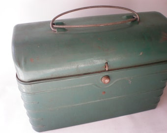 Rare Vintage Metal Roll Top Green Tin Lunch Box