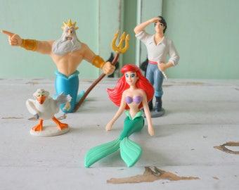 1980s LITTLE MERMAID Prince Eric Scuttle Toys....purple. under the sea. mermaid. disney. girls. kids. children. toddler. 80s. 90s. sebastian