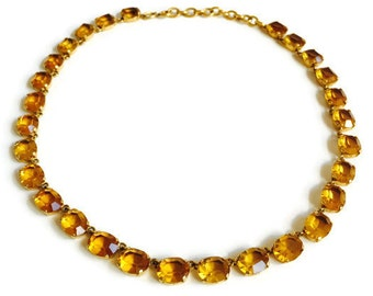 Vintage Amber Glass Open Back Crystal Necklace