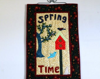 """Art Quilt ~ Spring Time Wall Hanging ~ Hand Appliqued and Hand Quilted 15.5"""" x 25"""" Wall Hanging ~ Tree, leaves, Flowers, BirdHouse, Birds"""