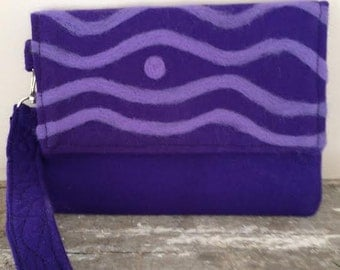 Purple Felted Clutch Handmade Wavy Line Design
