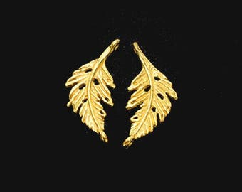 2 of 925 Sterling Silver 24K Gold Vermeil Style Leaf Links, Connectors 9x20 mm.  :vm0982