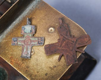 Set of 2 Antique Old broken crosses Christian Cross pendant. Orthodox church