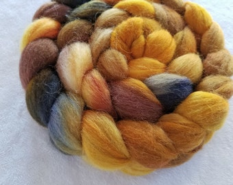 Merino/Baby Alpaca/Silk Roving-50/30/20-Hand Dyed/Painted - 4 oz - Golds and Brown with Navy