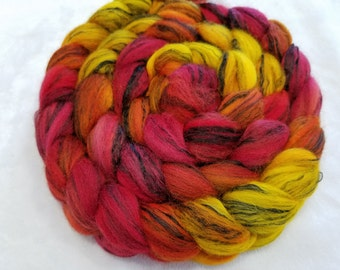 Hand Dyed Merino/Black Tencel Roving - 80/20 - 4 oz